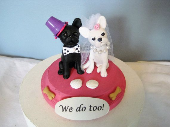 French Bulldog Wedding Cake Topper clay handmade by PawsnClaws