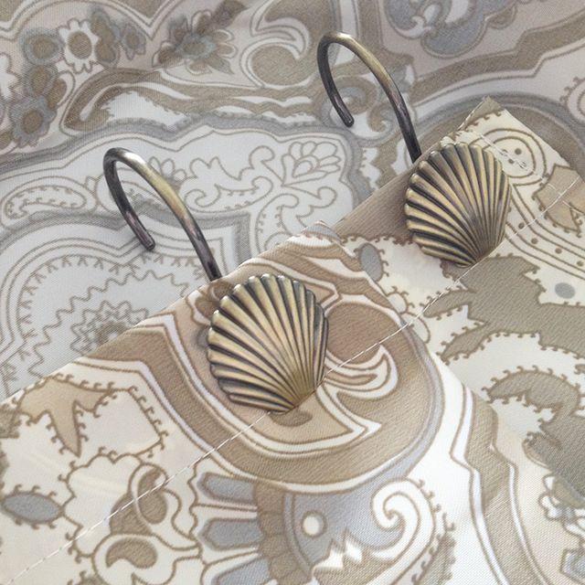 12 unidades/pacote Europeu Do Vintage Shell Forma Ganchos Da Cortina De Chuveiro de Metal Cor de Bronze Antigo Liga de Zinco Anéis de Cortina Do Banheiro