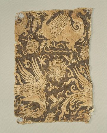 Textile with Phoenix, Winged Animal, and Flowers, 13th–early 14th century…