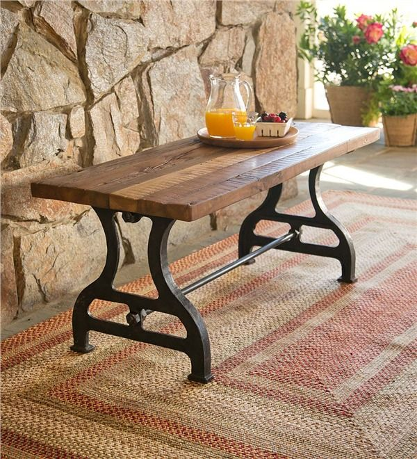 Main Image For Birmingham Indoor/Outdoor Reclaimed Wood Bench With Iron Base