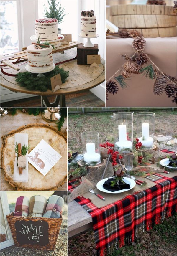 flannel and frost bridal shower dcor food and favors