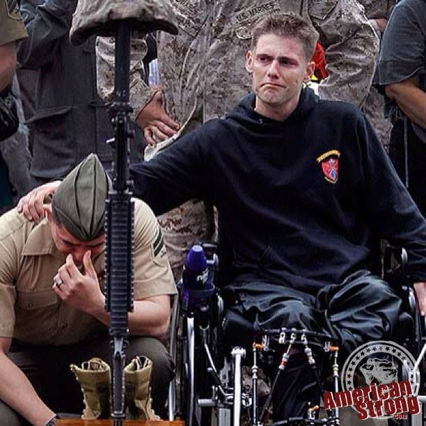 We can Post pics of Flags, and quotes all day long.... but none have as much meaning as your best friend, and a brother to American Strong consoling his Marine brother - for their losses during their last deployment. All While he was not yet able to walk after an IED blast took one leg, and having to rebuild another - this here is the reality of what our HEROES are going through. thank you brother for your sacrifice. it will NEVER be forgotten......    www.AmericanStrong.com