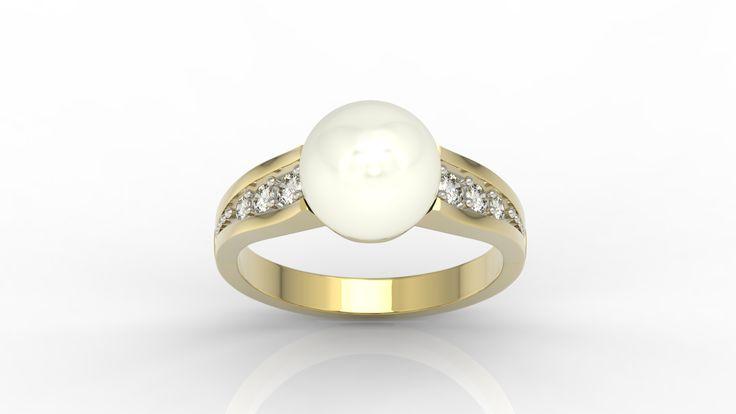 Pierścionek zaręczynowy wykonany ze złota  i ozdobiony perłą oraz diamentami/ Engegement ring made from gold with diamonds and pearl  #ring #engegement #weddingtime #withlove #jewellery #diamonds