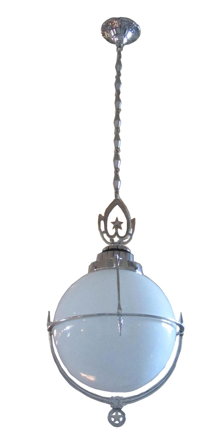 Art Deco Machine Age Drop Ceiling Light, from an Arkansas movie theatre, milk glass and nickel, 1930's