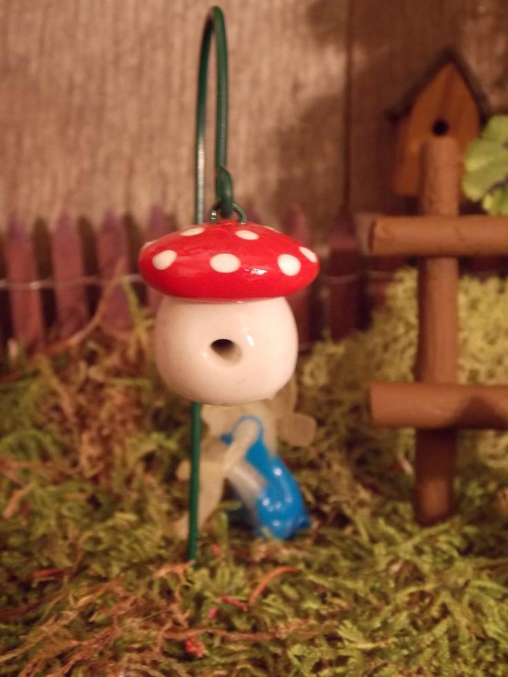 Miniature fairy garden hanging birdhouse with shepherds hook pixie gnome accessory terrarium. $4.50, via Etsy.