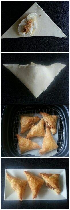 Airfryer Bladerdeeg met geitenkaas, honing, appel en walnoot. 200 graden, 10 minuten :)