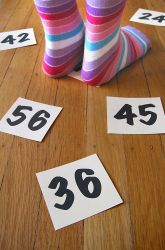 """Activities: Math Facts Game- also a FUN way to """"call school time"""" or practice some """"hard math problems they have experienced""""."""