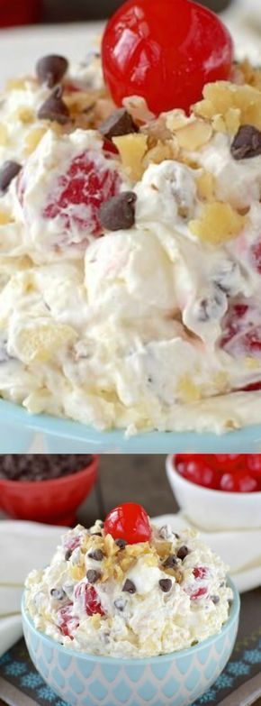 This Banana Split Fluff Salad from Inside BruCrew Life is an EASY side dish that your family is going to LOVE! This recipe is an easy to make fruit salad that gets made in one bowl — and then it's ready to go!