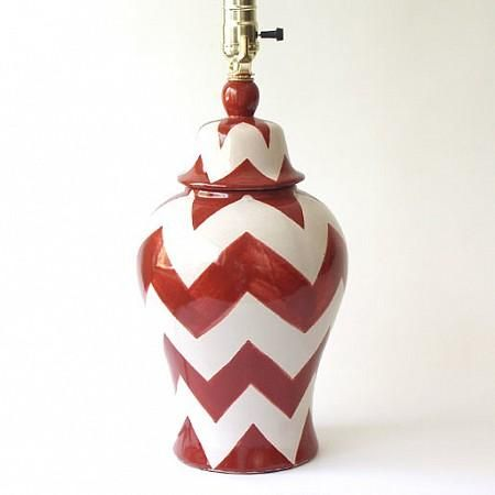 Small Burnt Orange ZigZag Lamp : Emilia Ceramics #Chevron #ZigZag #HomeDecor $185