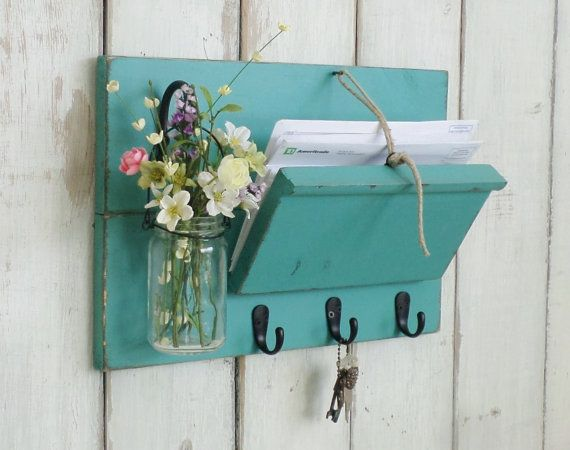 Unique Rustic Wood Mail And Key Holder Farmhouse Wall