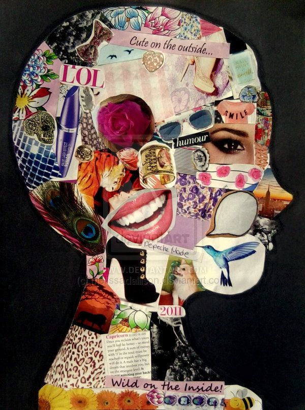 Collage Silhouette - all about me, celebrating individuality and inner beauty