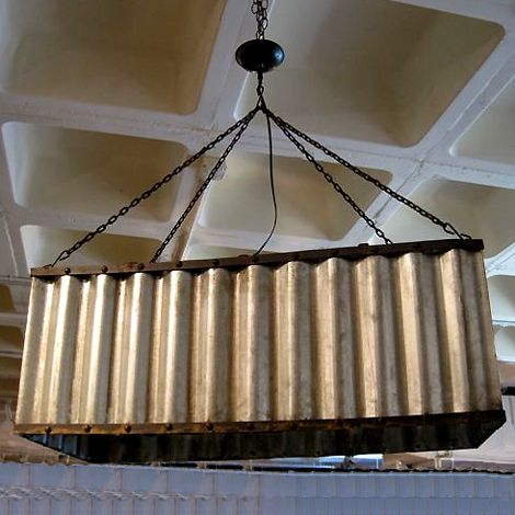metal lighting. corrugated metal chandelier in the right spot this would be so interesting lighting l