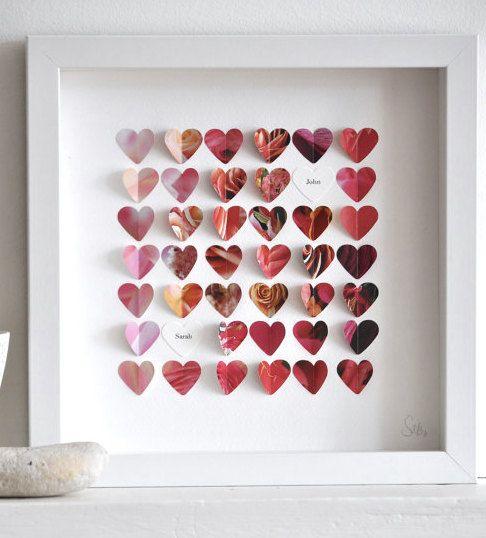 Personalized Paper Hearts di sarahandbendrix su Etsy