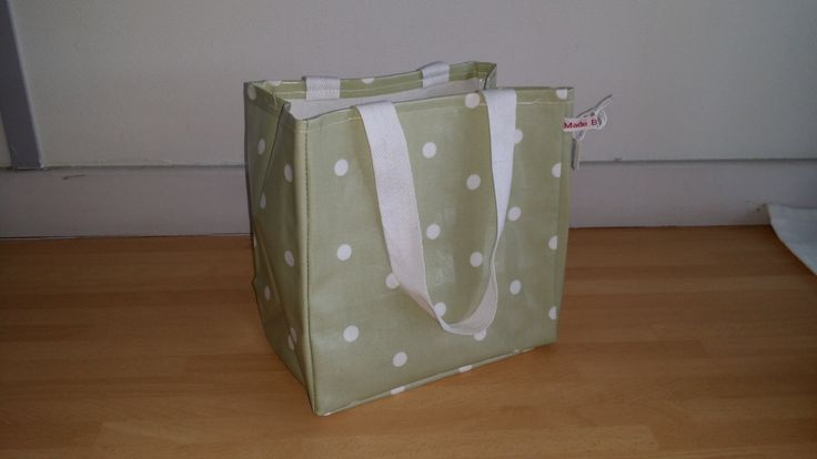 Green Dotty Lunch Bag - oil cloth, wipe clean by MadeByMAP on Etsy