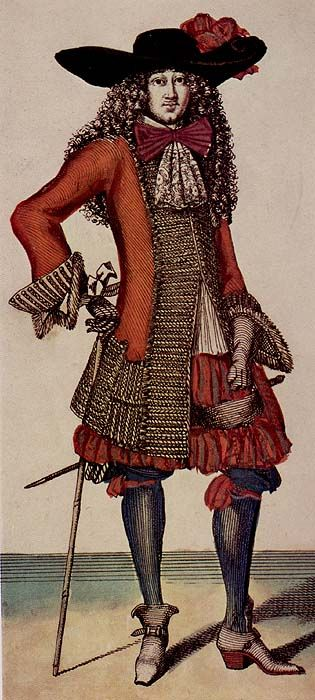 17th century - whisk lace abd ribbon broad brimmed hats, capes around body.Gentleman, 1678 1678.jpg (315×700)