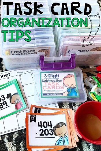 This is a great post that shows a variety of ways to store and organize task cards.  She also offers free task cards for 1st grade and 2nd grade teachers!