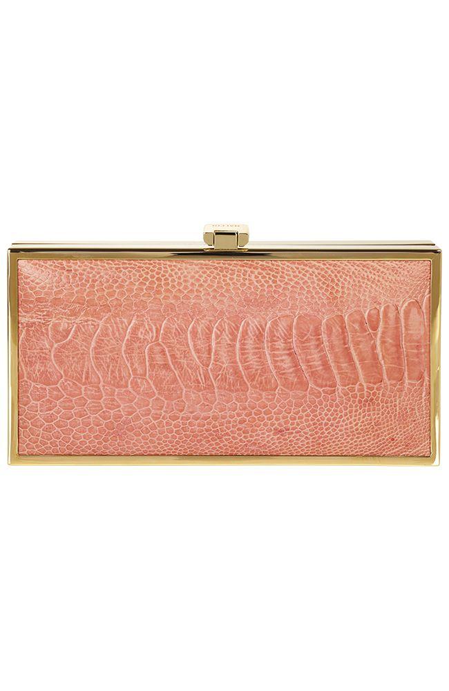 Naledi Copenhagen Ostrich box clutch Soft Coral