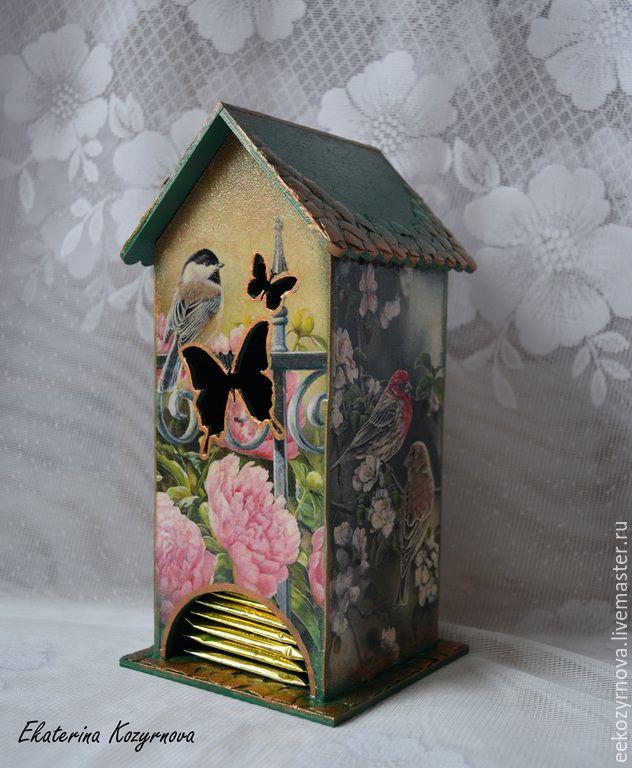 Купить Чайный домик Птицы в саду - зеленый, чайный домик, чайный домик декупаж, домик