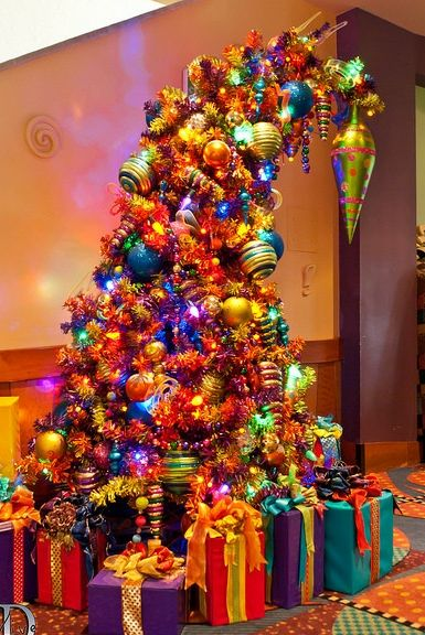 Bent and colorful Christmas tree.. Reminds me of the Grinch!