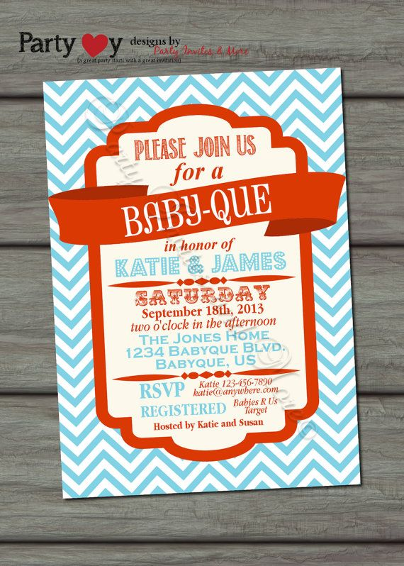 BBQ Joint Baby Shower, Blue, Orange, Co-ed, Barbeque Baby Shower, DIY, Chevron, Retro, Typography - Digital Print File