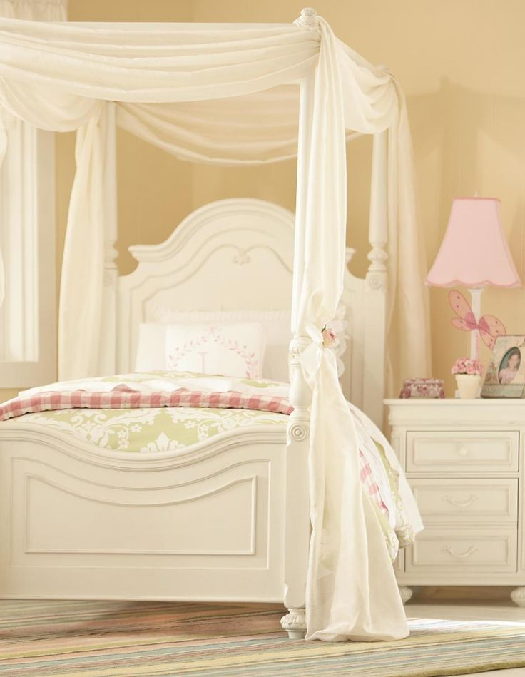 bedroom white stained wooden bed with white canopy and curtain combination with light pink shade - Light Hardwood Canopy 2016
