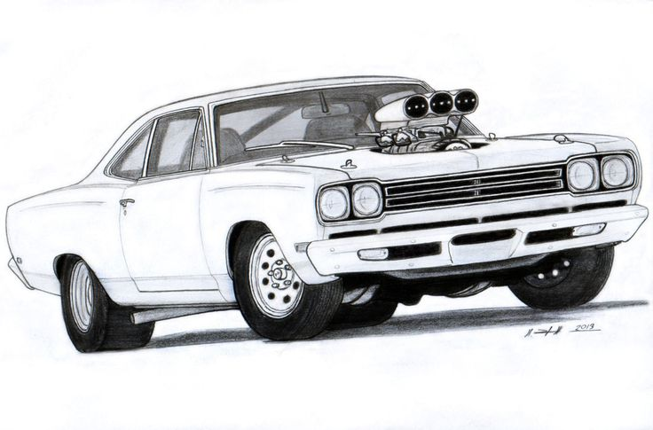 Muscle Car Drawings | 1969 Plymouth Roadrunner Drawing by ~Vertualissimo on deviantART