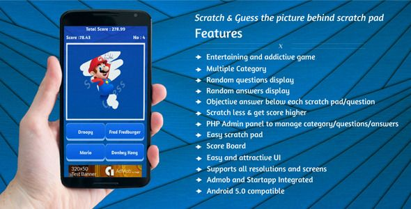 "Purchase the source code of our ""Scratch & Guess"" game for android only in $14"