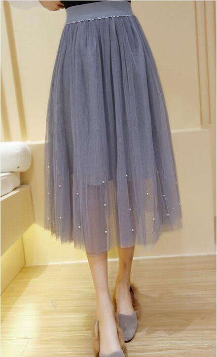 Эластичный пояс Кружева цветок длина юбки 2016 новая весна Корейских женщин Жемчужина Из Бисера марля юбка Юбки тела элегантный юбка купить на AliExpress