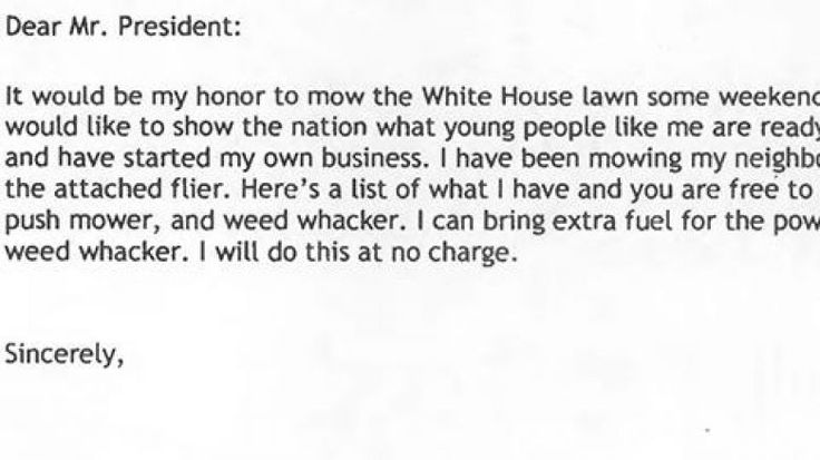 At Wednesday's press briefing, White House Press Secretary Sarah Huckabee Sanders read a letter to President Trump from a young boy who asked to mow the White House lawn.