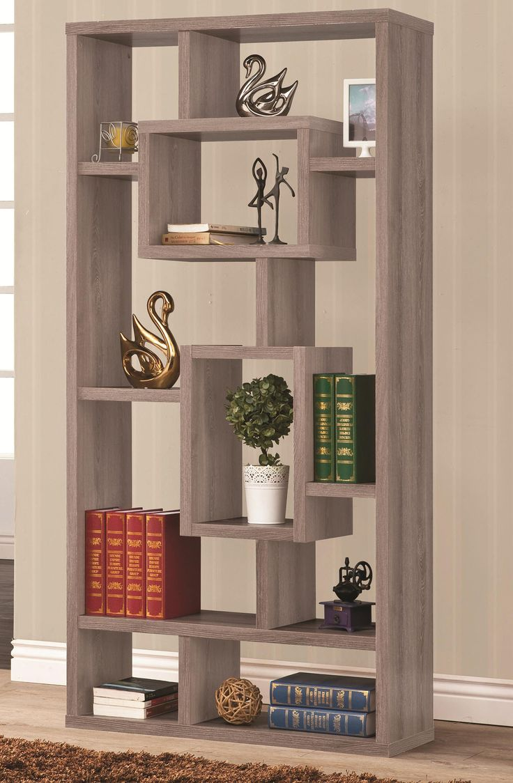 images of coaster  bookcases geometric cubed rectangular bookshelfwith  shelves for storage and open back for a twoway display indistressed grey .  best shelf for kitchen images on pinterest  home ideas homes