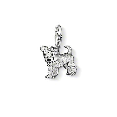 """THOMAS SABO Charm pendant """"dog"""" with lobster clasp.  925 Sterling silver, black-enamelled, size: 1.2 cm"""
