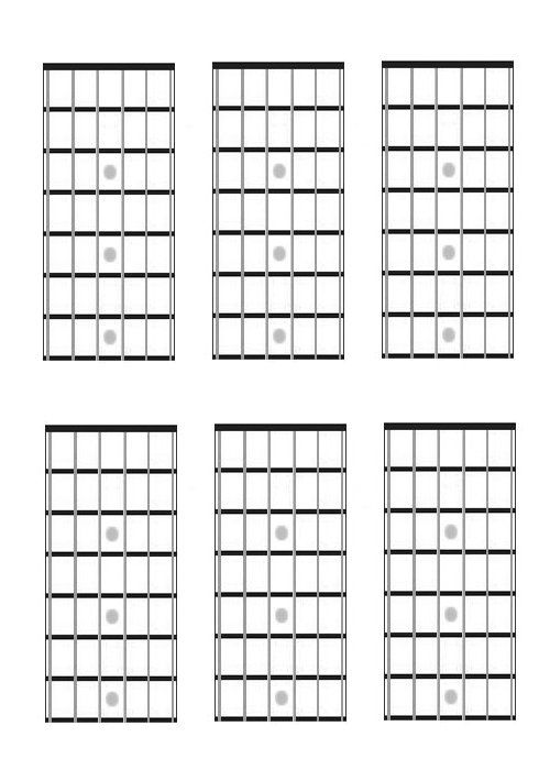 Guitar, Chord Charts, Fretboard Diagrams, Blank, Music