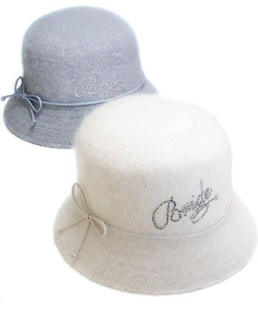 Perfect for the winter bride - Bride Angora Down Brim Hat available at TheWeddingOutlet.com