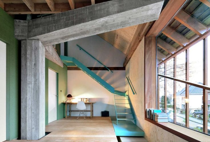Concrete 'column' used as a focal point on a small home, with a small footprint and small budget.      *WHAT A STAIR!