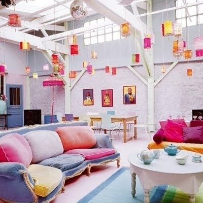 Would make for a cheerful basement! Love the lanterns.