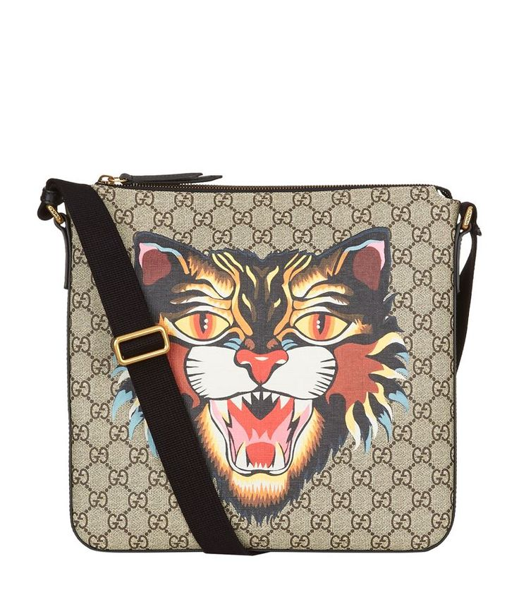 GUCCI Angry Cat Supreme Messenger Bag. #gucci #bags #shoulder bags #leather #canvas #