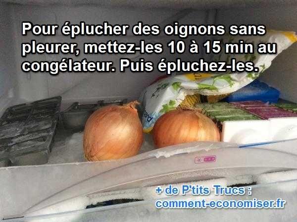 La grand-mère m'a confié son secret pour éplucher les oignons sans pleurer. L'astuce est de mettre les oignons 10 min au congélateur avant de les éplucher.   Découvrez l'astuce ici : http://www.comment-economiser.fr/le-truc-infaillible-pour-eplucher-les-oignons-sans-pleurer.html?utm_content=buffer42d19&utm_medium=social&utm_source=pinterest.com&utm_campaign=buffer