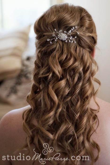 waterfall curls, 1/2 up with barrette/comb
