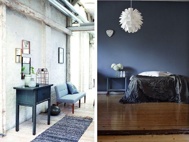 Id e d co avec bleu marine meuble chambre peinture mur for Peinture bleu et gris pour chambre