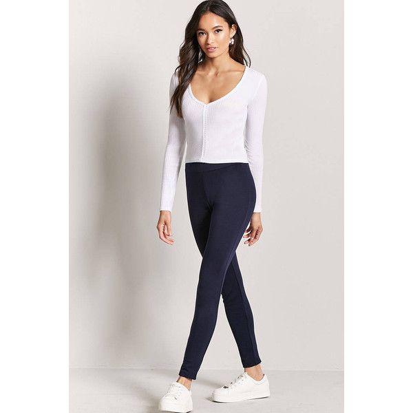 Forever21 Ankle-Zip Leggings ($10) ❤ liked on Polyvore featuring pants, leggings, navy, navy blue pants, ankle zipper pants, forever 21 leggings, ankle zip pants and navy pants
