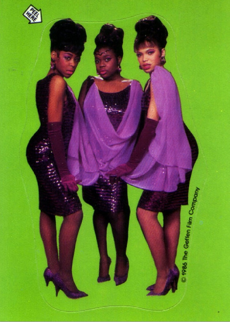 Little Shop of Horrors (1986) Sticker — (from left) Tichina Arnold as 'Crystal', Michelle Weeks as 'Ronette' & Tisha Campbell as 'Chiffon'