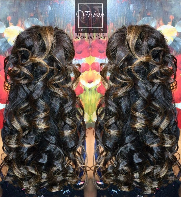 •Wedding•Prom•Curls• •Beautiful hair by Erin•  Half up half down with curls is an elegant hairstyle for any of your upcoming special occas...