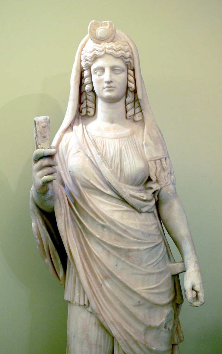 Persephone - Proserpina. Statue of Isis-Persephone with a sistrum. Heraklion Archaeological Museum, Crete