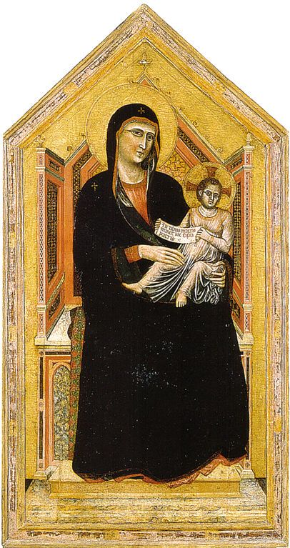 Madonna in trono  Maestà (Maestro della Santa Cecilia) Data1320-1325 circa Tecnicatempera e oro su tavola Dimensioni185 cm × 97 cm  Galleria dell'Accademia, Firenze
