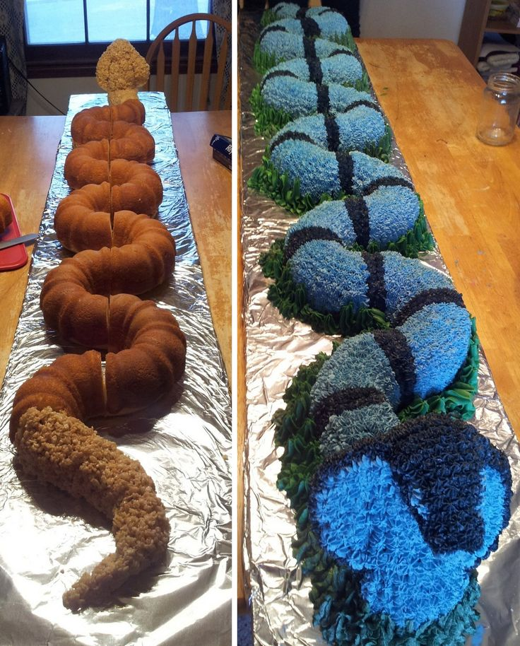 DIY Snake Cake Tutorial from Schooled in Love. This is a 6 foot long cake! The secret to its shape is bundt cakes - lots of them and rice krispie treats. Go to the link to see how she made the Cobra...