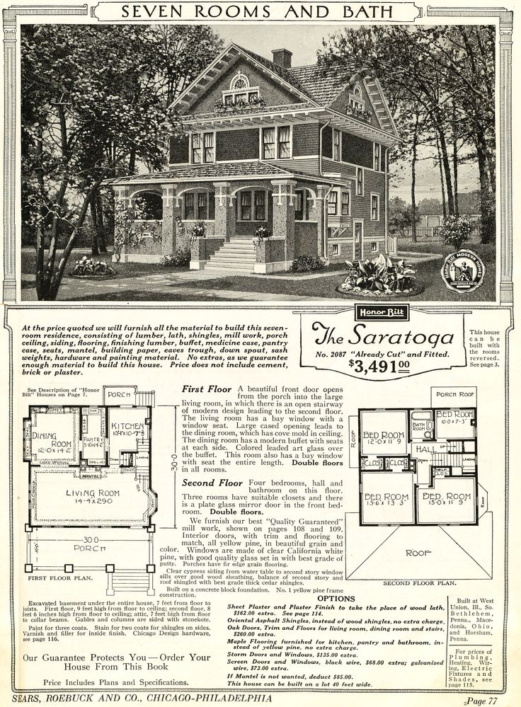 sears saratoga as seen in the 1922 catalog - 1919 House Plans