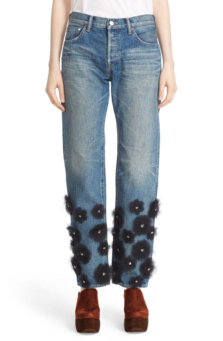 Tu es mon TRÉSOR Tulle Flower Embellished Jeans available at #Nordstrom
