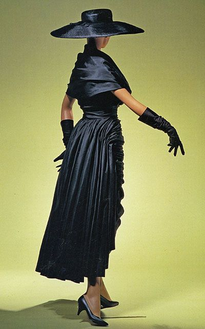 Balenciaga fashion style 50s 60s color photo print ad model magazine black silk cocktail dress long skirt ruffles shawl collar hat gloves shoes