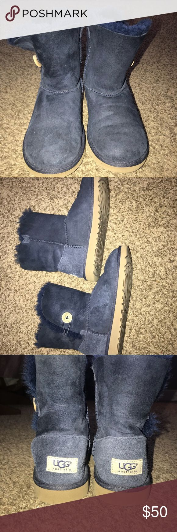 Girls Uggs Navy Blue Girls Bailey Ugg Boots. Great condition! Super cute!! UGG Shoes Boots