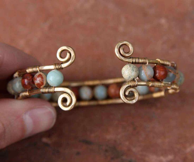 Christmas Sale oOo Impression Stone and Brass Cuff Bracelet. $33.50, via Etsy.